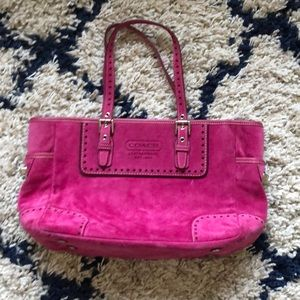 Coach pink suede bag